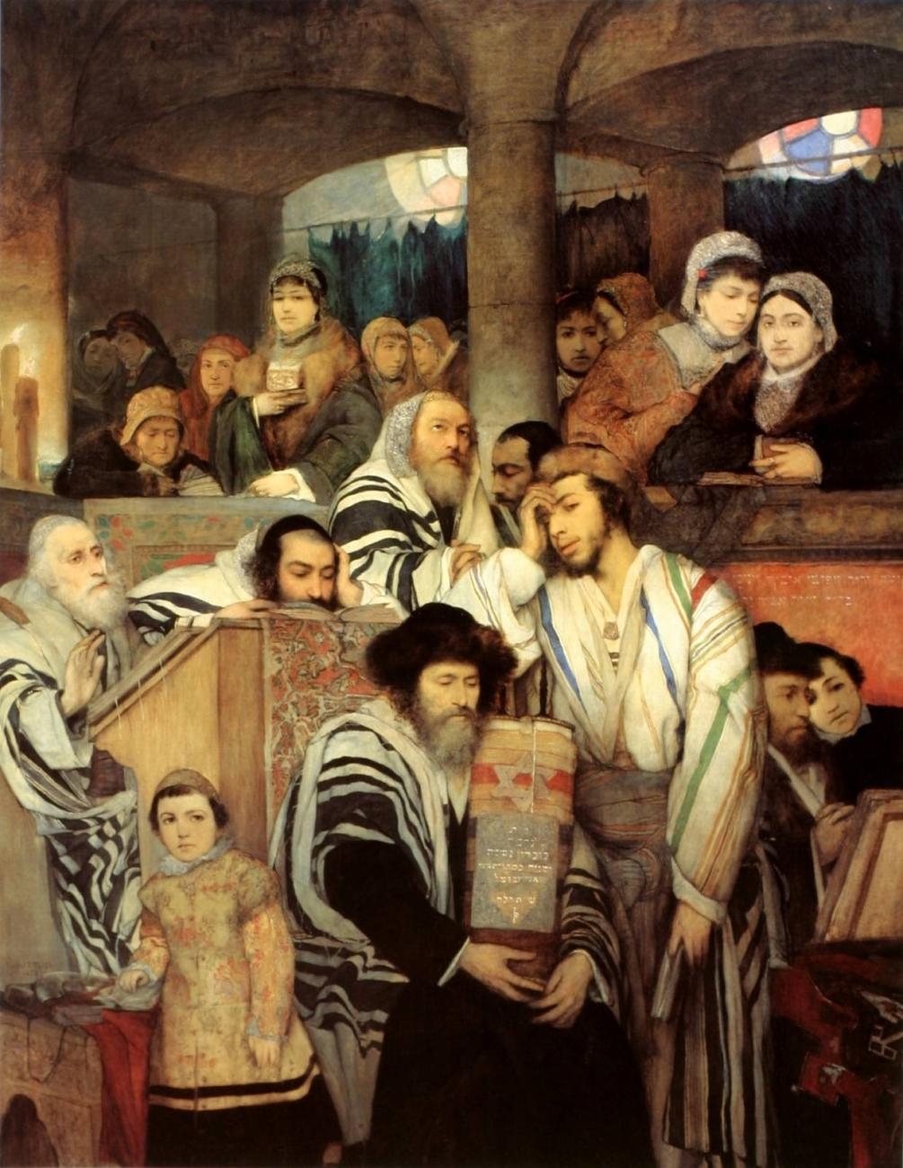 Jews Praying in the Synagogue on Yom Kippur by Maurycy Gottlieb (1878)
