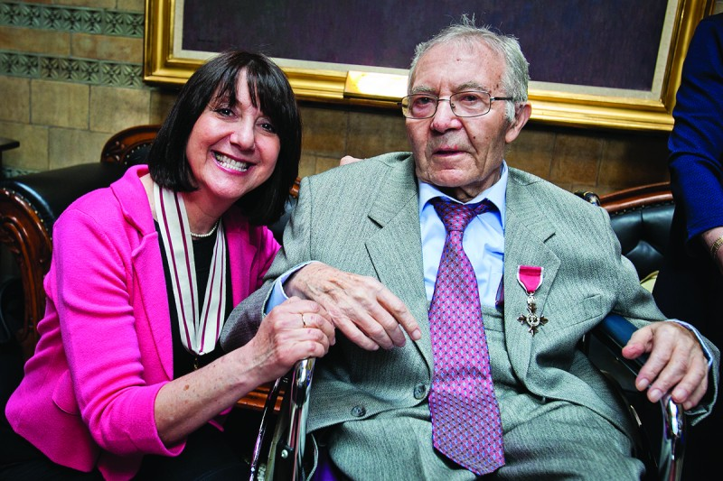 Chief executive of The Fed, Karen Phillips with the late Mayer Hersh.