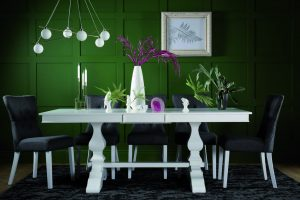 Cavendish white extending dining table with four regent slate chairs (£799.99)
