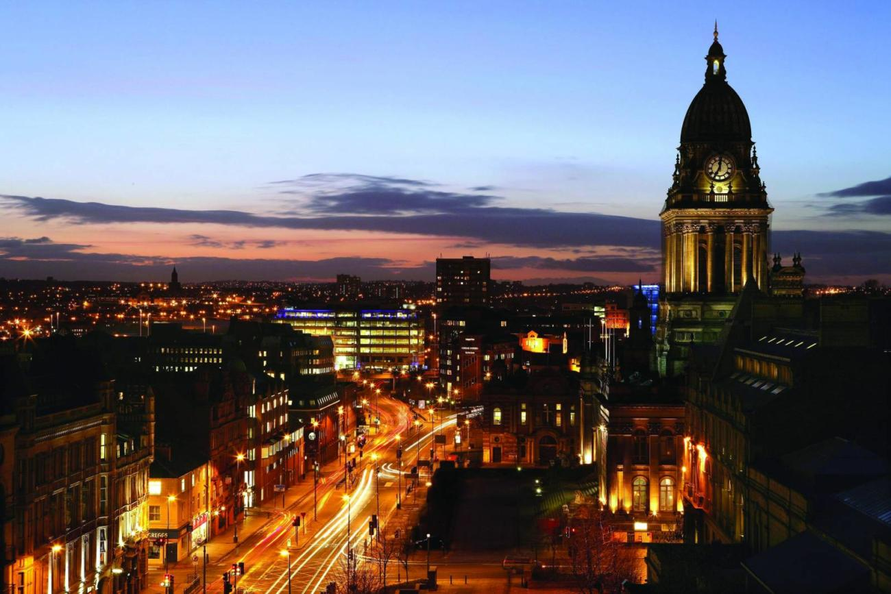 headrow and town hall at night - Leeds City Council