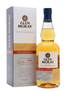 A bottle of Glen Moray Cider Cask Project whisky