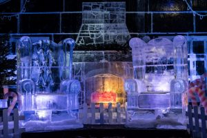 A photo of two ice thrones from last years Manchester Ice Village