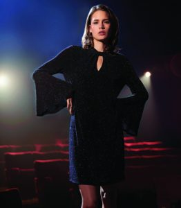 Model shows off festive dress from Wallis