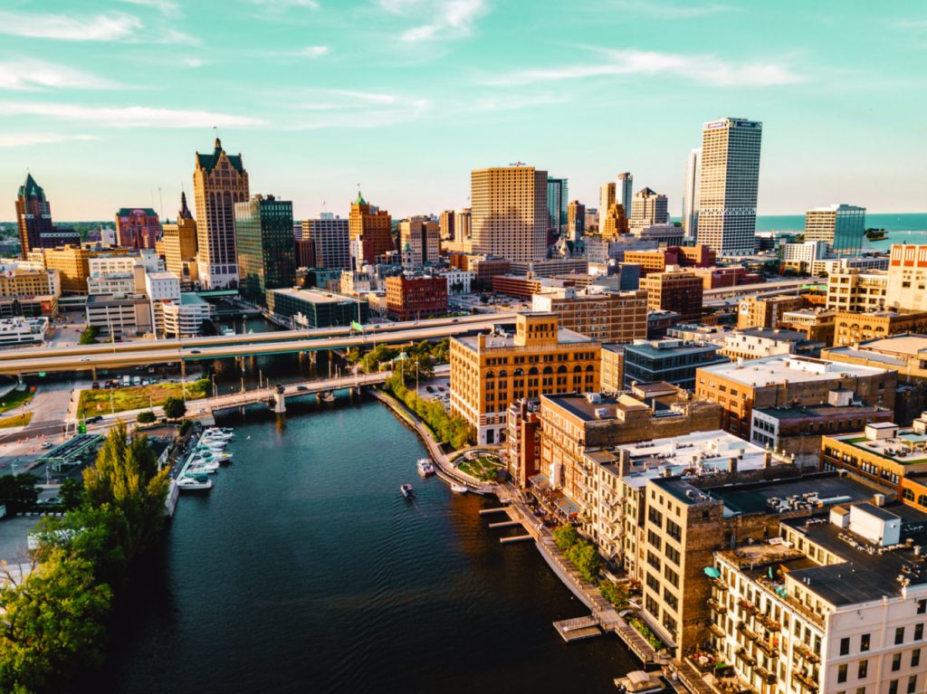 Milwaukee, one of our top travel trends, as seen from the sky