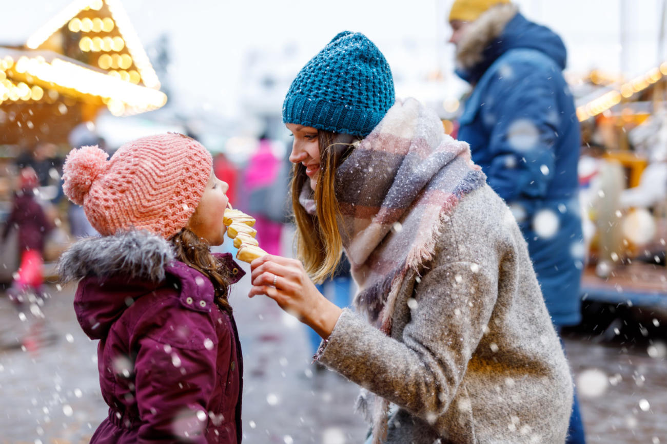 Mother and Daughter having fun at Christmas markets